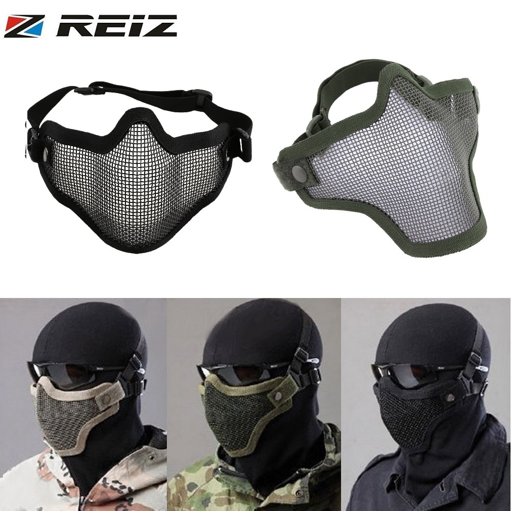 REIZ Half Lower Face Coverage Helmets Metal Steel Net Mesh Tactical Protective Airsoft Mask for War Game Paintball Hunting