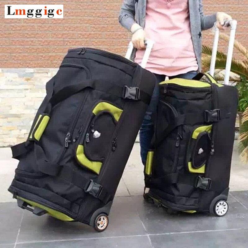 Mala de viagem de alta capacidade, saco de pano de oxford bagagem de rolamento, caso do trole feminino, masculino 27