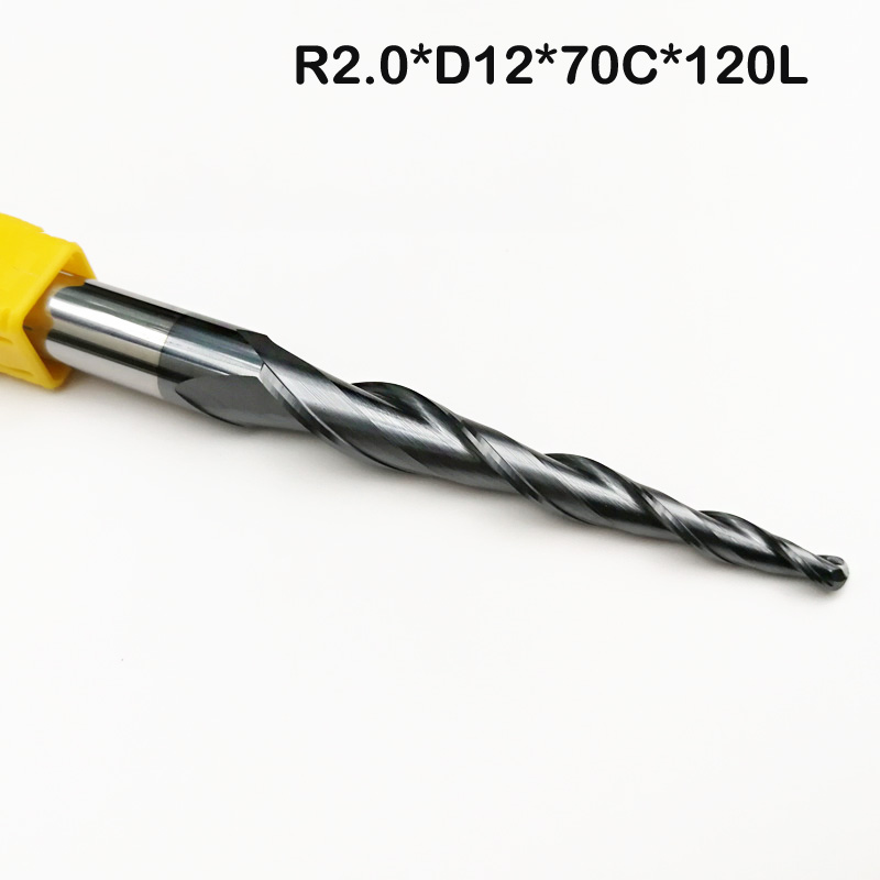 1pc-R2.0*D12*70*120L*2F HRC55 Tungsten solid carbide Tapered Ball Nose End Mills and cone CNC Milling cutter double side drill out damaged screw extractor drill bits out remover broken bolt stud removal tool kit 4pcs 1 2 3 4 with case