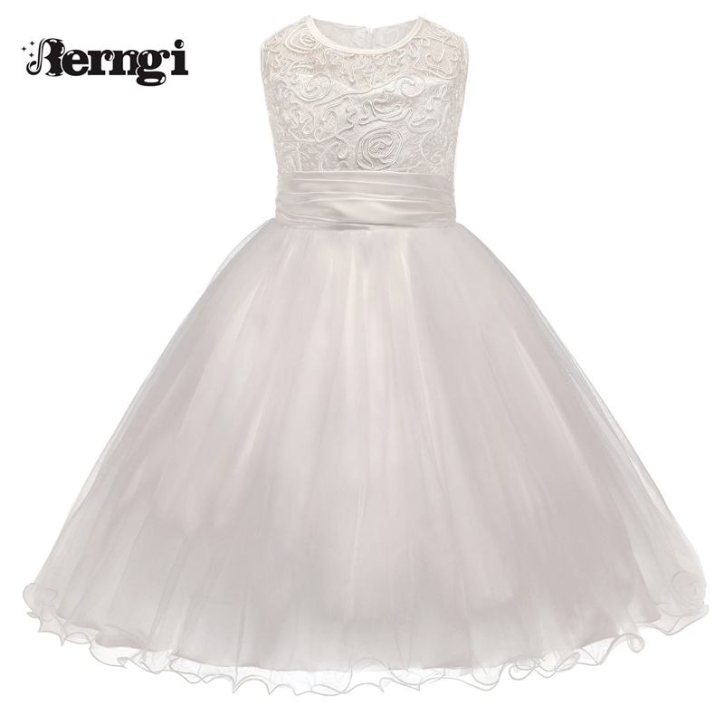 2017 Summer Dresses For Girl Lace Flower Girl White Dress Kids Clothing Children's Evening Party Wear Birthday Wedding Dress summer 2017 new girl dress baby princess dresses flower girls dresses for party and wedding kids children clothing 4 6 8 10 year
