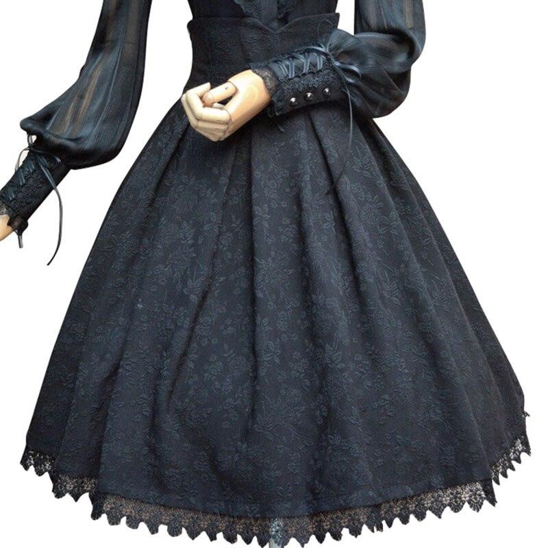 2019 Vintage Skirt Floral Jacquard High Waist Skirt for Women Gothic Formal Skirt White Black Burgundy