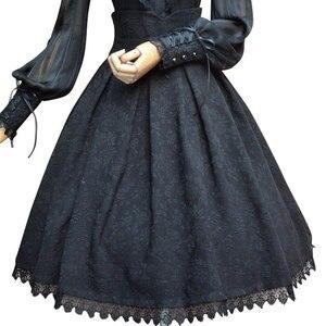 Image 1 - 2019 Vintage Etek Çiçek Jakarlı yüksek bel etek Kadınlar için Gotik Resmi Etek Beyaz/Siyah/Bordo