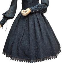 2019 Vintage Skirt Floral Jacquard High Waist Skirt for Women Gothic Formal Skirt White/Black/Burgundy