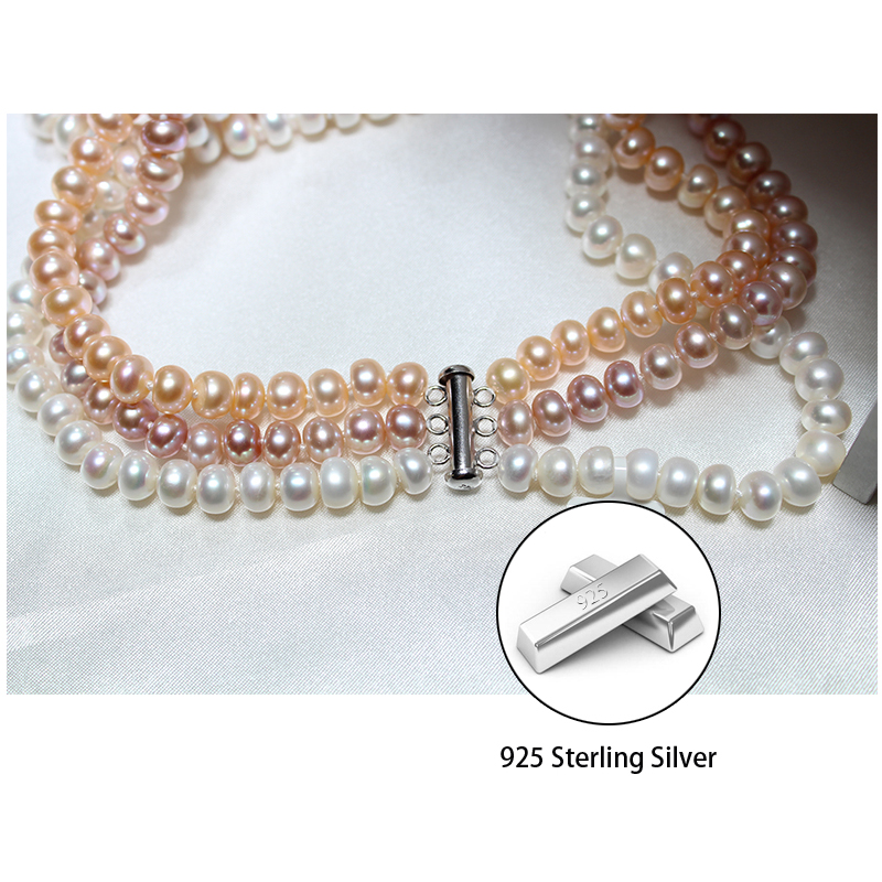 RUNZHUQIYUAN 2017 nouveau collier de perles d'eau douce naturelles 925 bijoux en argent sterling 8-9mm véritable collier meilleurs cadeaux pour les femmes - 3