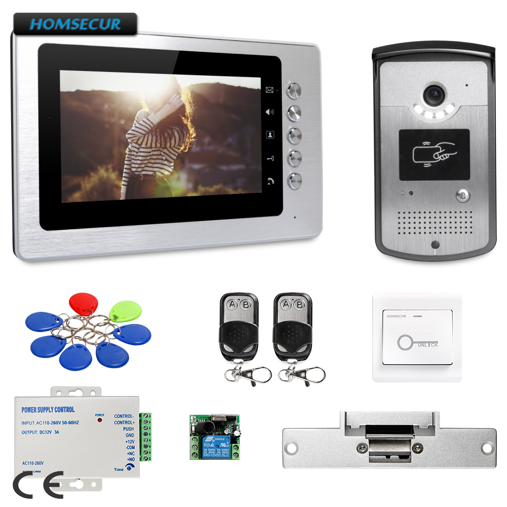 цена на HOMSECUR 7inch Wired Video Door Entry Phone Call System Electric Strike Lock Set Included : XC001+XM705