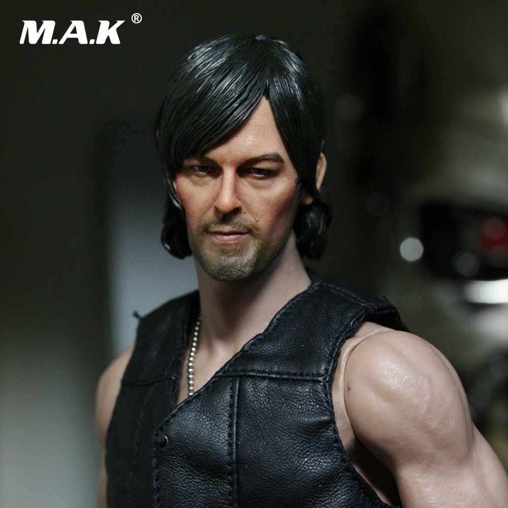 On Sale 1/6 Headplay Male Figure Head Model The Walking Dead DARYL DIXON Norman Reedus Head Sculpt for 12 Action Figure цена
