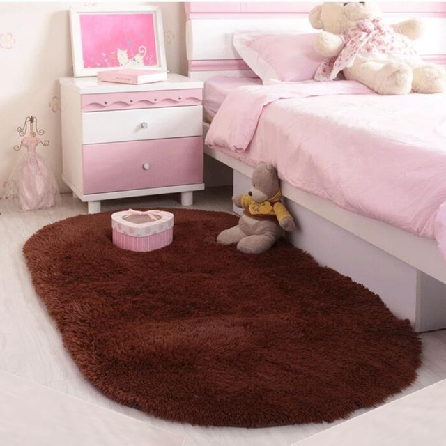 Ellipse Shape Pink Area Rug Bedroom Living Room Short Hair Soft Carpet  Popular Non Slip