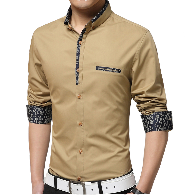 New Arrival Cotton Casual Men Shirts Long Sleeve Floral