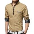 Nueva Llegada de Algodón Ocasional de Los Hombres Camisas de Manga Larga Floral Collar Diseño Único Para Hombre Camisas Slim Fit Negocio Social Tamaño M-4XL, 5XL