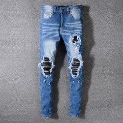 Мужские джинсы с дырками, модные облегающие брюки в стиле хип-хоп, микроспортивные брюки, больше размеров 29-36, 38, 40, 2019