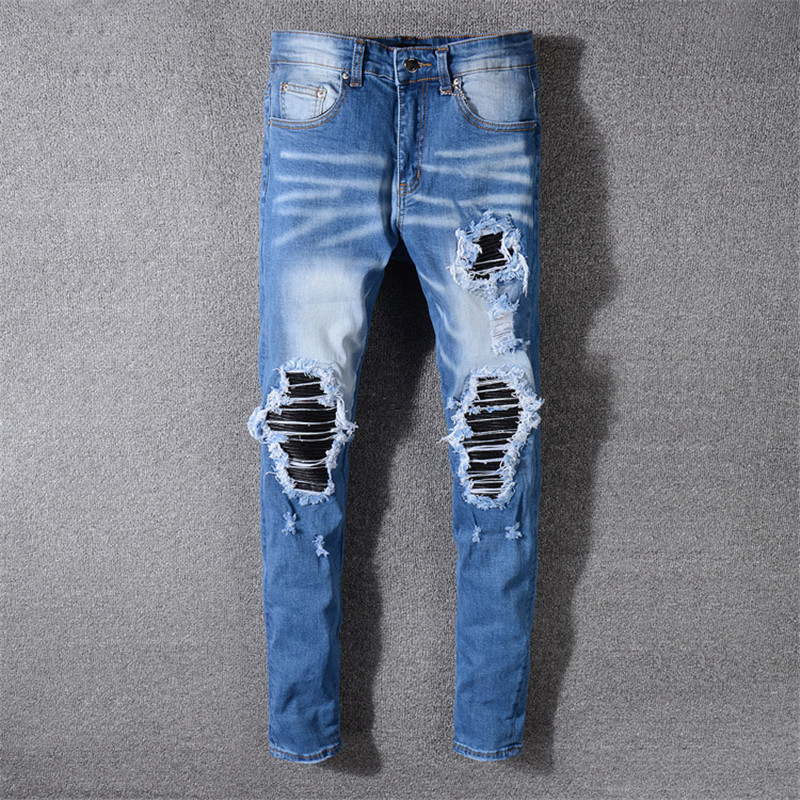 2019 New High Street Hole Jeans Men's Fashion Slim Trousers Hip Hop Micro-sports Pants More Size 29-36 38 40