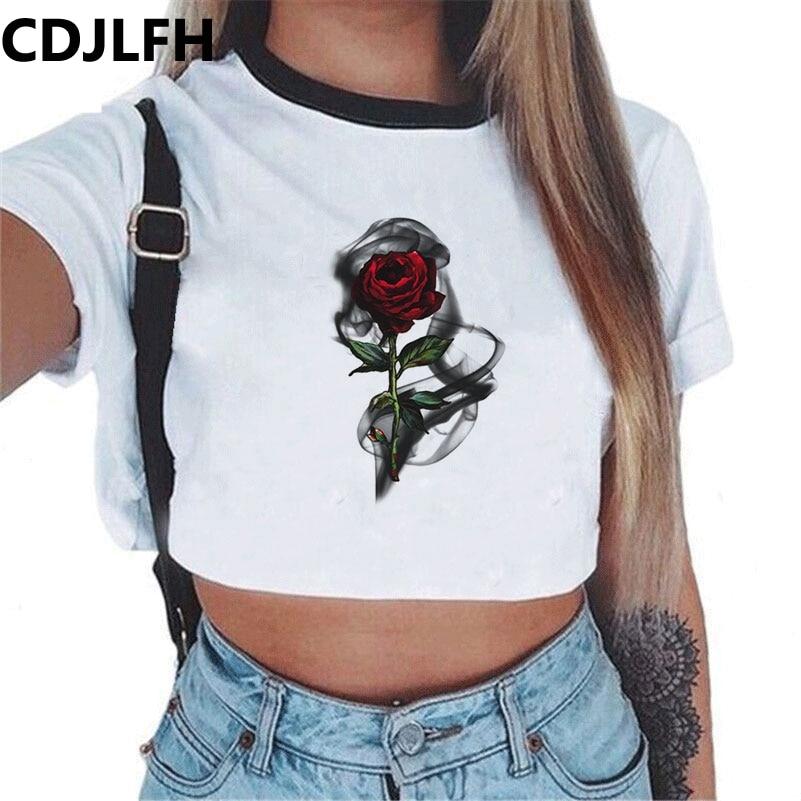 CDJLFH 2018 Short Women Summer Solid White Print   Tank     Top   Female O-neck Cropped Feminino Crop   Tops   Sexy Elastic T Shirt