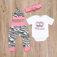 4pcs Newborn Infant Baby Girls Clothes Short Sleeve White Bodysuit Tops+Zebra Pants+Headband+Cap Toddler Outfit Set