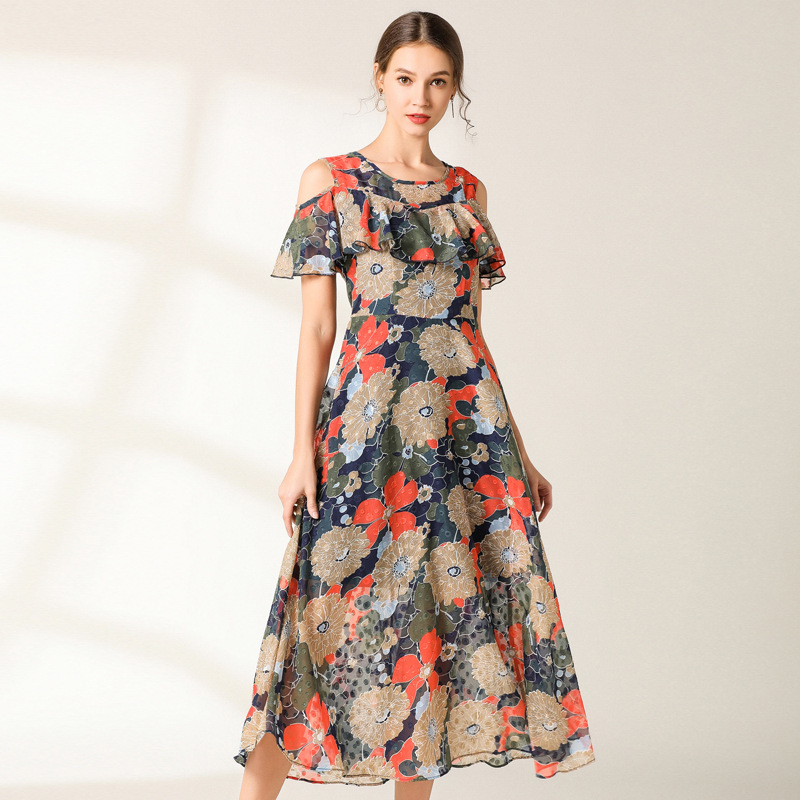 New Summer Ladies Floral long Chiffon Dress Elegant longos Vestidos Off the shoulder Ruffled Casual Bohemian