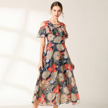 a619bc1ef Nuevo verano Floral vestido largo Chiffon elegante longos Vestidos fuera el  hombro con volantes Casual Bohemia