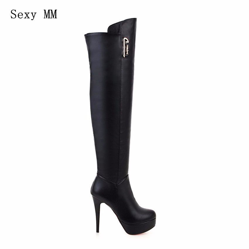 Spring Autumn Winter Platform High Heels Boots Women Over-the-Knee Boots Stretch Woman Thigh High Boots Plus Size 34-40.41.42.43