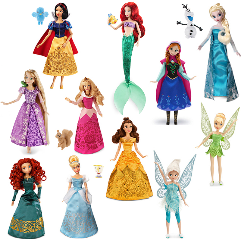 Genuine Disney store 30CM Rapunzel Belle Mulan Merida Anna Elsa Multi Jasmine joint princess doll toys