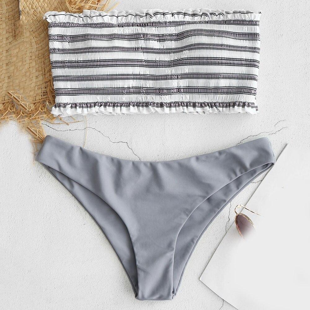 Bikini 2019 Stripe Smocked Bandeau Bikini Set Stripe Female Bikini Set Summer Beach Bathing Suit Push Up Swimwear Biquini zafull