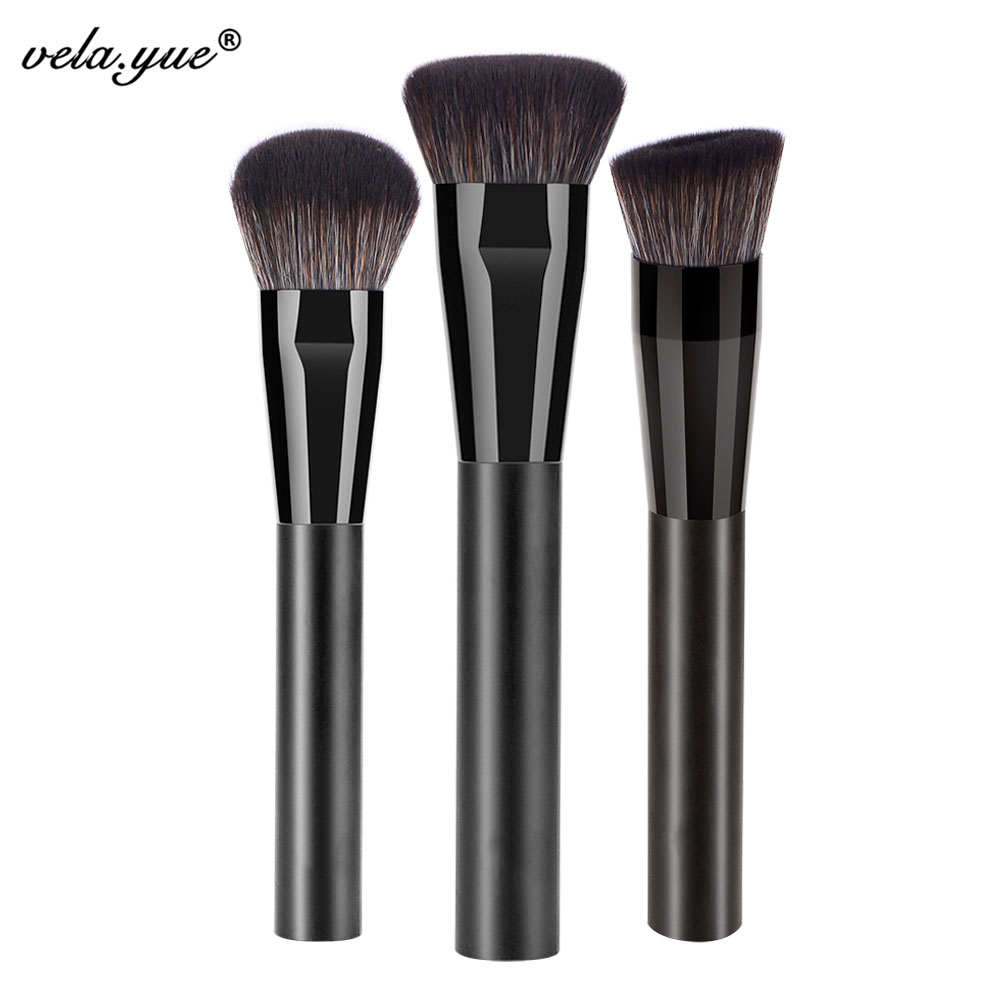 Pro Face Makeup Brushes Set 3pcs Powder Foundation Blush Bronzer Cream Highlighter Cosmetic Beauty Tools Kit focallure 3pcs pro face makeup daily using foundation cream loose powder with high quality makeup brush