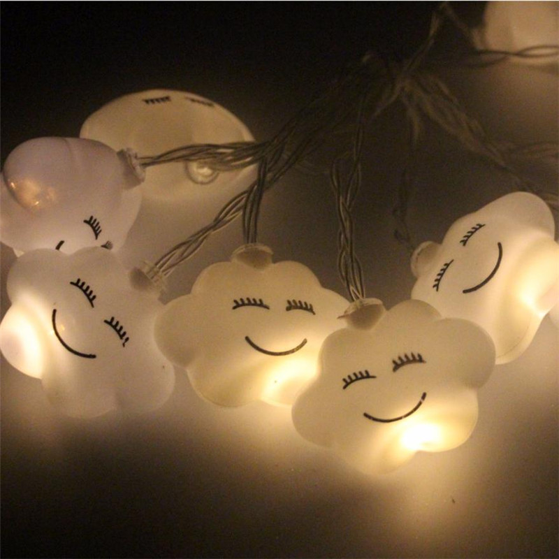 10 Led Emoji Cloud Shape String Lights DIY Party decoration Wedding Christmas hanging lamps color Decor lamps copper light