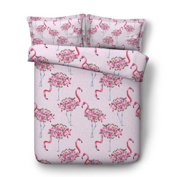 Ensembles de literie Flamingo drap de lit housse de couette 3D ensemble lit dans un sac housse de couette en lin housse de couette californie King Queen size complet jumeau 4 pièces