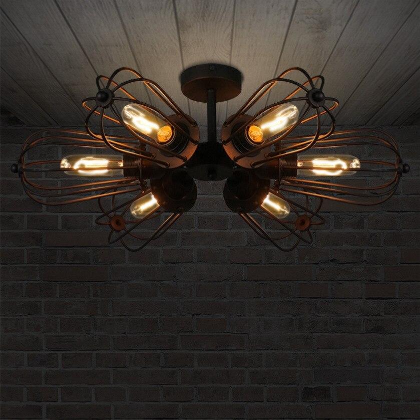 loft retro dual-purpose wheel iron ceiling light  American style village 5 head DIY E27 Art Spider Ceiling Lamp Fixture Light