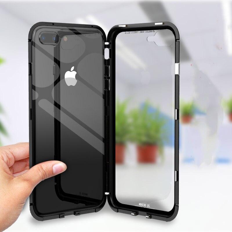 Magnéto Magnétique Adsorption couverture en métal pour l'iphone X iphone 6 S cas 6 sPlus clair trempé couvercle en verre pour iphone6 7 8 plus Shell