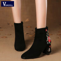 VANGULL Boots Women Embroidered High Ankle Shoes Boots Black Flock Round Toe Zipper Red Flower Shoes Ladies Short Plush Boots