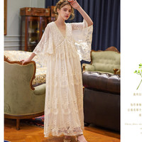 Spring Summer Women Elegant Casual Loose Exquisite Embroidery Lace Rice White Maxi Dress Vintage Mori Girls Long Mesh Dresses