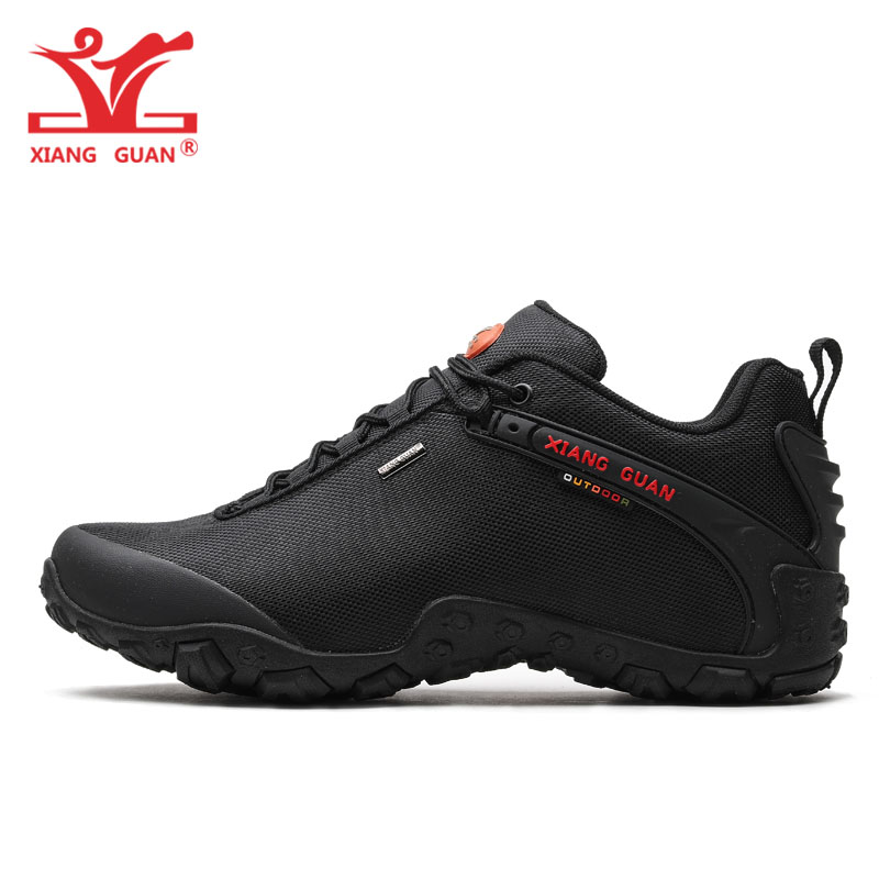 XIANG GUAN Man Hiking Shoes Lelaki Athletic Boots Black Green Zapatillas Sports Climbing Mountain Outdoor Walk Sneakers