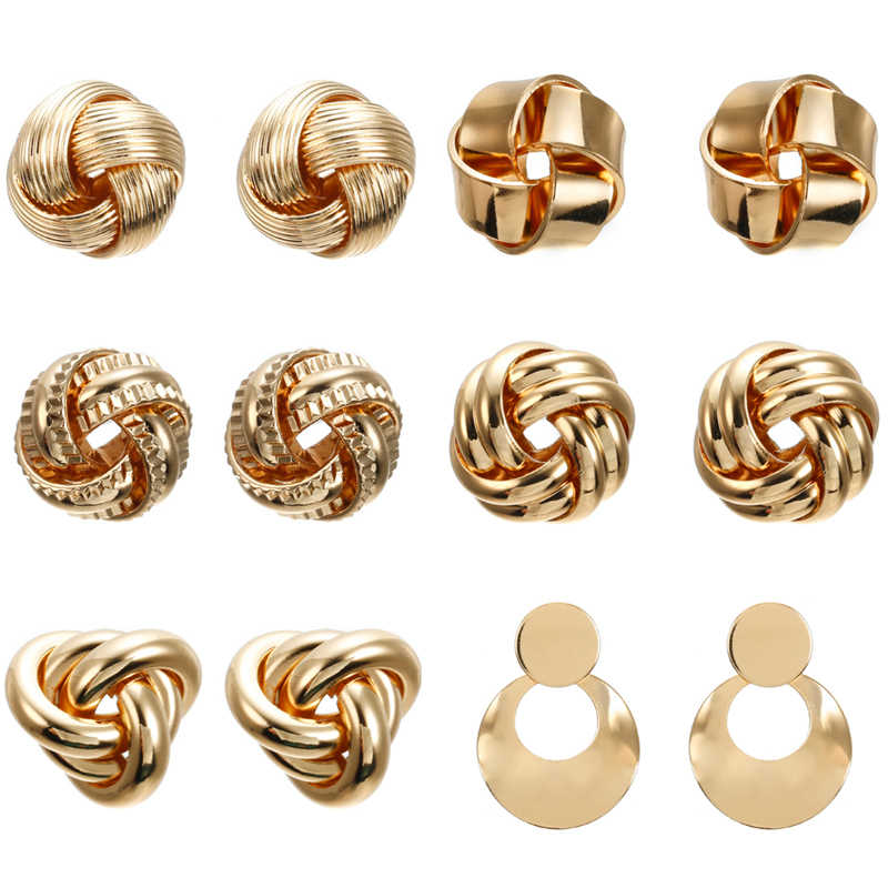 Vintage Exaggeration gold twisted Stud earrings for women 2019 new geometric Metal knot round earrings jewelry Declaration