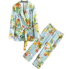 Купить с кэшбэком 2 piece set women Suit female European style holiday lady's pajamas flower pattern casual suit fashion suit