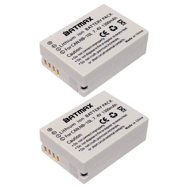 Prix pour Batmax 2 Pcs NB-10L NB10L NB 10L Appareil Photo Batterie pour CANON PowerShot SX40 HS SX40HS SX50 HS SX50HS G1 X G1X G15 G16 SX60 HS G3X