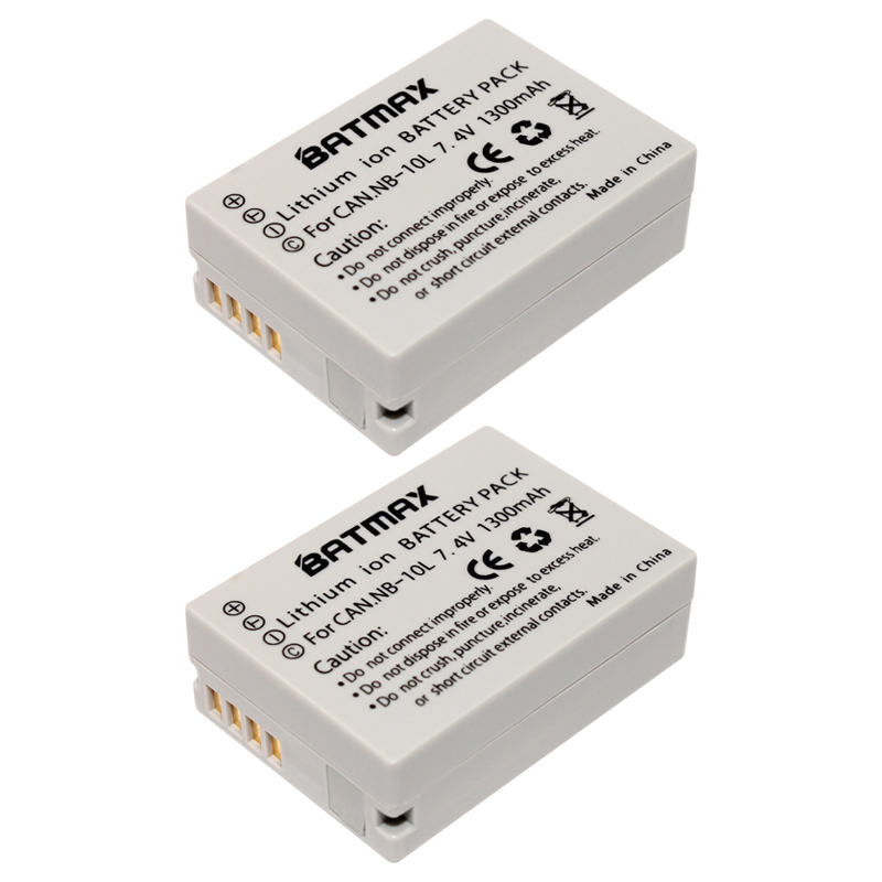 Batmax 2 Pcs NB-10L NB10L NB 10L Camera Battery for CANON PowerShot SX40 HS SX40HS SX50 HS SX50HS G1 X G1X G15 G16 SX60 HS G3X