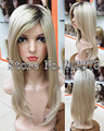 Top quality Ombre hair wig Blonde with dark roots Synthetic long straight Wigs for women Free shipping