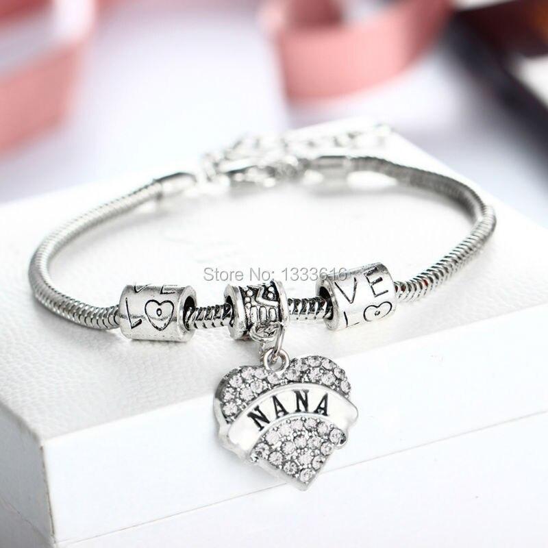 Семья мама бабушка бабуля Blessed прозрачный кристалл сердце Браслеты любовь Бусины Браслеты Для женщин на день рождения Рождество Шарм jewelry б...