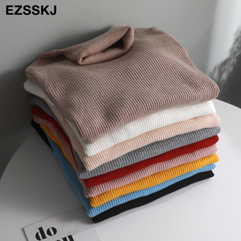 2019 Knitted Women high neck Sweater Pullovers Turtleneck Autumn Winter Basic Women Sweaters Slim Fit Black 1