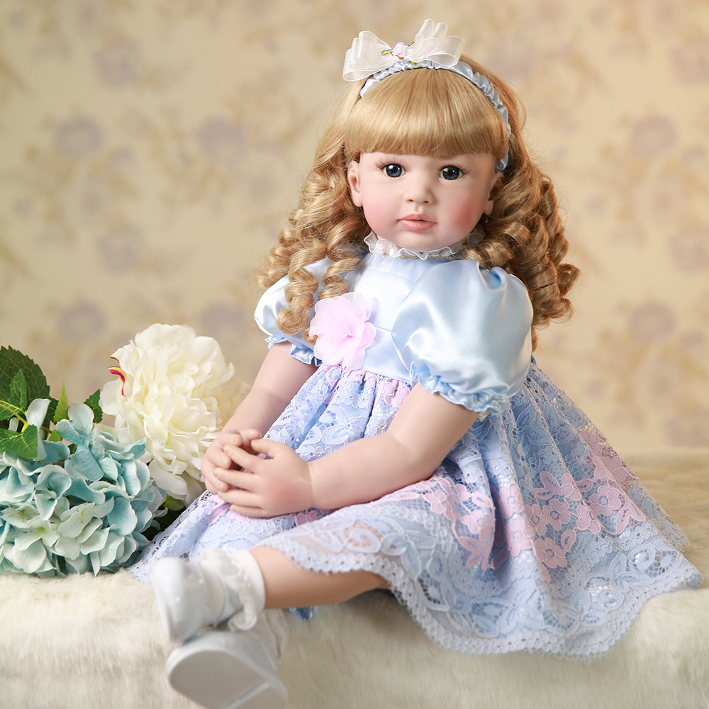Curly Blonde Hair Silicone Reborn Toddler Princess Girl Baby Doll Toys for Girls Educational Doll Toys Birthday Christmas Gifts 52cm shoulder length hair reborn toddler baby girl doll smling princess girl doll in flower dress girls toys birthday xmas gifts