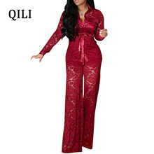 QILI Plus Size Women Lace Jumpsuits Turn-Down Collar Long Sleeve Pockets Sashes Wide Leg Elegant Jumpsuit Club Sexy