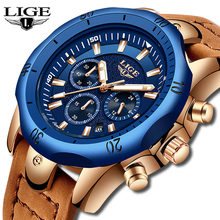 LIGE Mens Watches Brand Luxury Blue Quartz Watch Men Casual Leather Military Waterproof Sport Wrist Watch Relogio Masculino +Box high quality luxury brand leather men watches waterproof fashion casual quartz watch business military wrist watch hour relogio