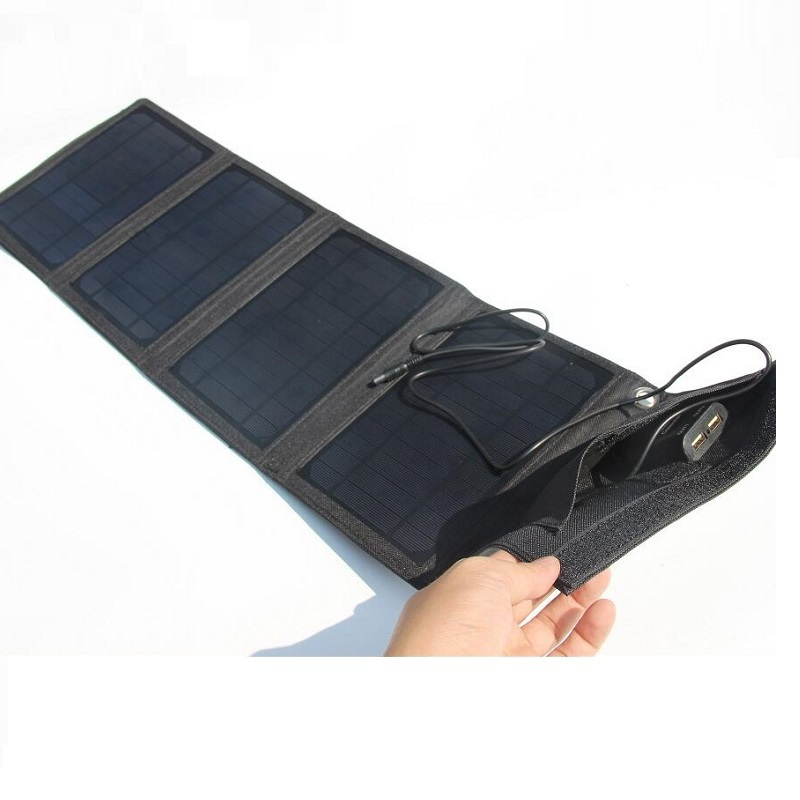 New 18V/5V 16W Portable Folding Solar Charger For iphone/12V Battery Charger Solar Panel Charger External Backup Free Shipping