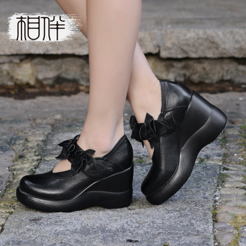 все цены на  Elegant ladies shoes high-heeled thick bottom slope with single round shallow mouth shoe black women leather pumps  в интернете