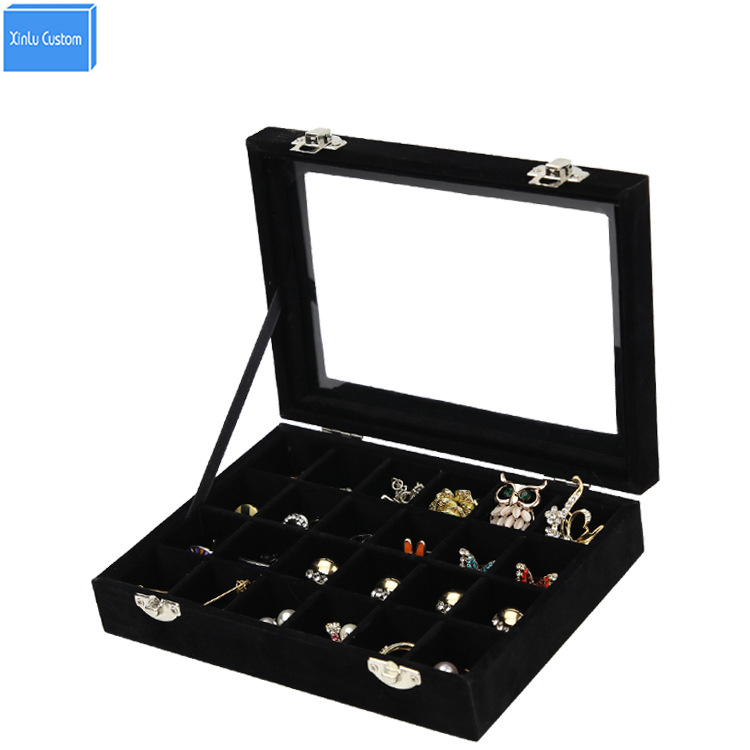2017 Black/Red Wood Velvet 24 Slots Women Jewelry Watch Accessories Collect Desk Case Makeup Collect Box Case Home Storage Box