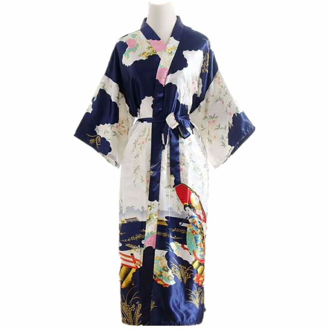 Silk Satin Wedding Bride Bridesmaid Robe Floral Bathrobe Long Kimono Robe  Vintage Night Robe Dressing Gown For Women 2018 Hot d823ac0d3