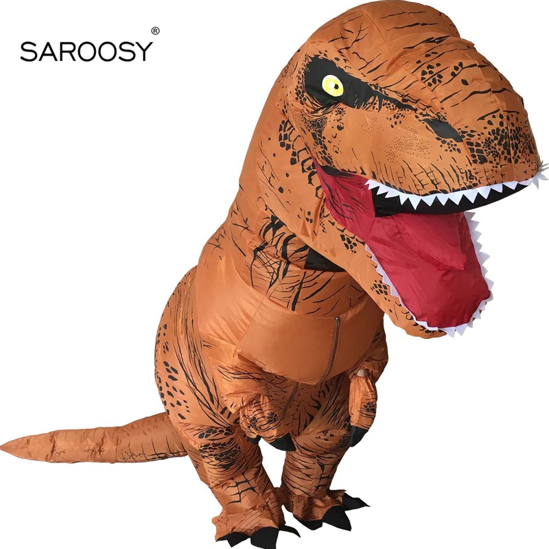 SAROOSY New T Rex Inflatable Costumes for Adult Dinosaur Halloween Cosplay Costume Free Send 1 Pcs Electric Pump Fans