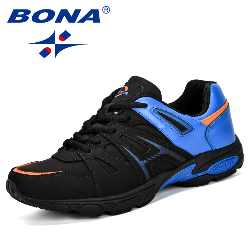 BONA Lightweight Outdoor Sports Shoes Men Sneakers Comfortable Jogging Leather Tennis Human Race Running Shoes Men