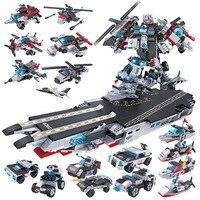 Упаковка и рассылки Cogo высокой строительные блоки в сочетании линкор робот 8 комбинированных 1 земли и air team Ассамблея игрушка 13020
