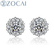 Zocai Earrings Drown In Love 0 6 Carat Diameter Effect 20 Ct Certified 18k White L Diamond Stud E00756