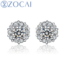 "ZOCAI Drown In Love ""0.8 Carat Diameter Effect"" 0.20 CT  Certified 18K White Godl Diamond Stud Earrings E00756"