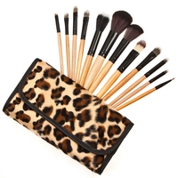 Newest Hypoallergenic Fashion 12pcs Powder Makeup Soft And Silky Wood Brush With Leopard Storage Bag Suitable